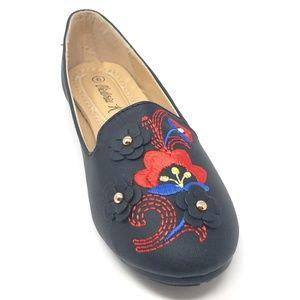 Women Embroidered Ballet Flats, B-2714A, Black